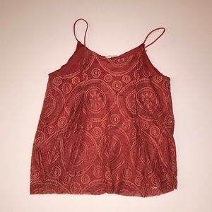 Mauve orange lace detail halter tank